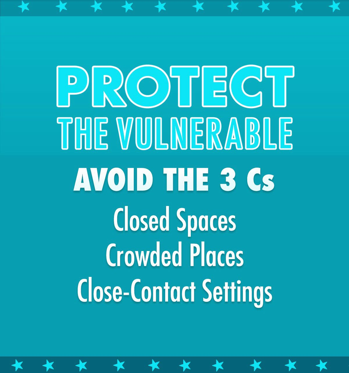 COVID-19 Protect the Vulnerable - Avoid the 3 C's