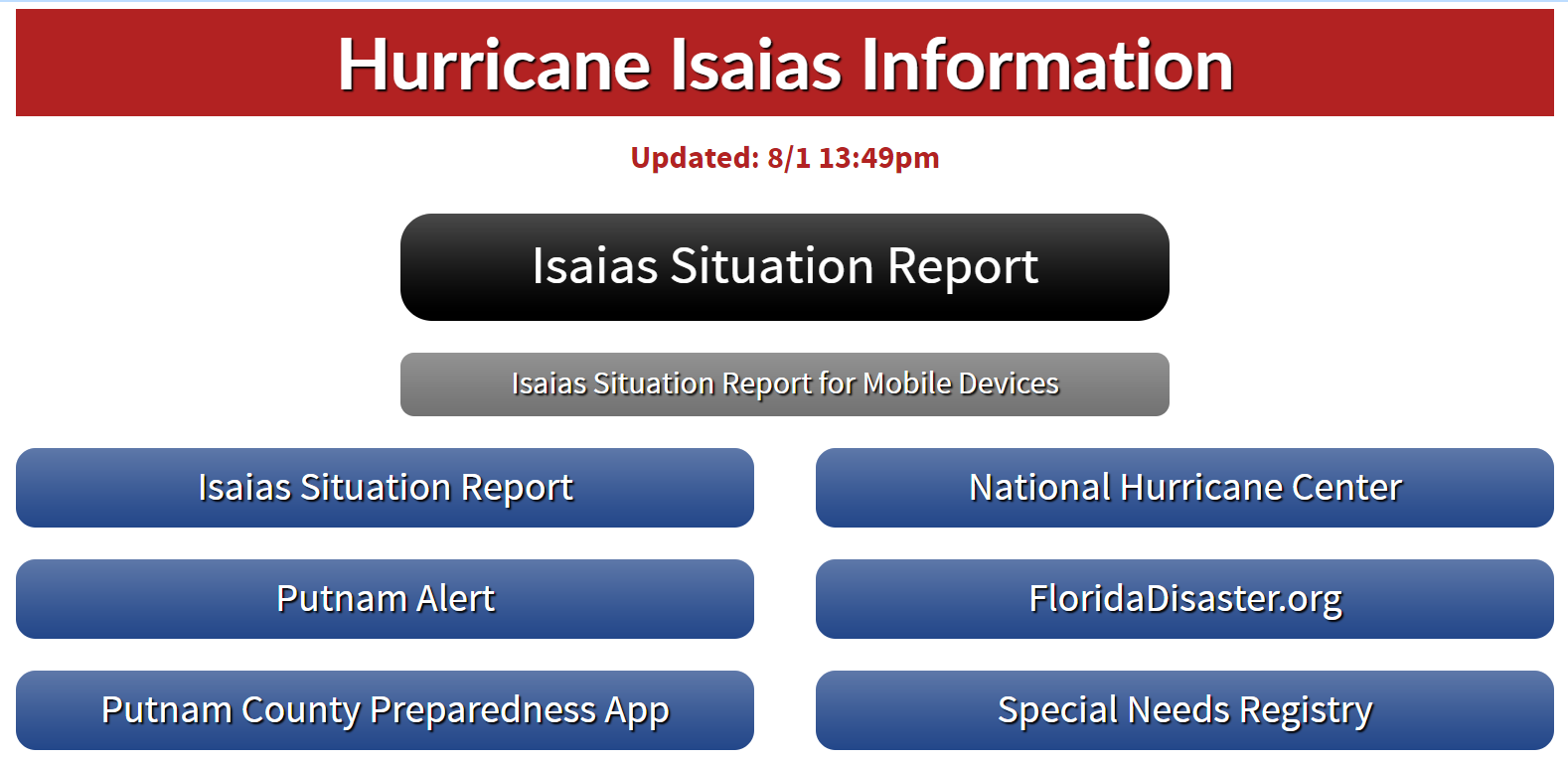 Putnam County Hurricane Isaias Latest Information Graphic